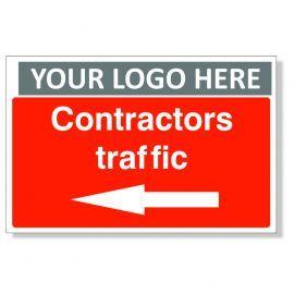 Contractors Traffic Arrow Left Custom Logo Sign