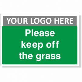 Please Keep Off The Grass Custom Logo Sign