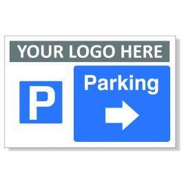 Parking Arrow Right Custom Logo Sign
