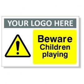 Beware Children Playing Custom Logo Warning Sign
