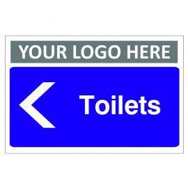 Toilets Arrow Left Custom Logo Door Sign