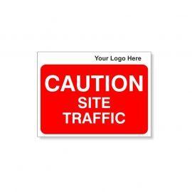 Caution Site Traffic Custom Logo Sign - 600Wmm x 450Hmm