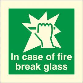 Photoluminescent In Case Of Fire Break Glass Sign