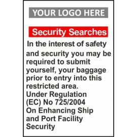 Security Searches 400W X 600Hmm Aluminium Composite Sign With Your Logo