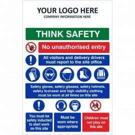 Think Safety No Unauthorised Entry Multi Message Safety Board
