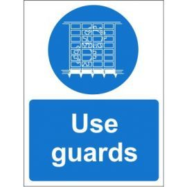 Use guards sign in a variety of sizes and materials with or without your logo