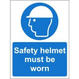 Safety helmet must be worn sign in a variety of sizes and materials with or without your logo