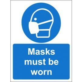 Masks must be worn sign in a variety of sizes and materials with or without your logo