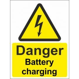 Danger battery charging sign in a variety of sizes and materials with or without your logo