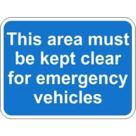 This Area Must Be Kept Clear For Emergency Vehicles Traffic Sign