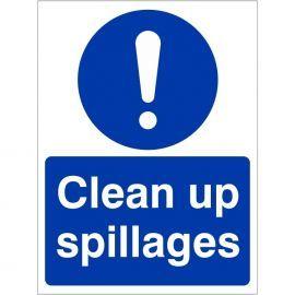 Clean Up Spillages Sign