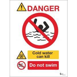 Danger Deep Cold Can Kill Sign - Do Not Swim