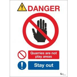 Danger Quarries Are Not Play Areas Sign - Stay Away