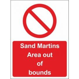 Sand martins area out of bounds sign in a variety of materials and sizes with or without your logo