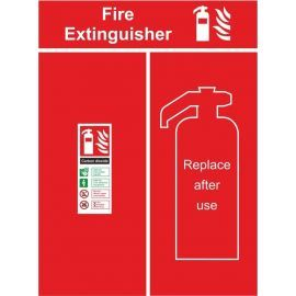 Fire extinguisher location panel replace after use 600w x 800h mm sign 3mm composite aluminium