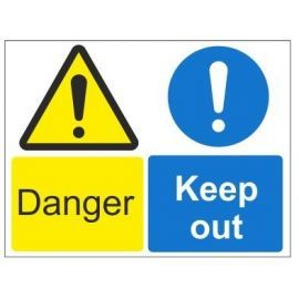 Danger keep out multi message sign in a variety of sizes and materials