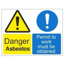 Danger asbestos permit to work must be obtained multi message sign in a variety of materials and sizes