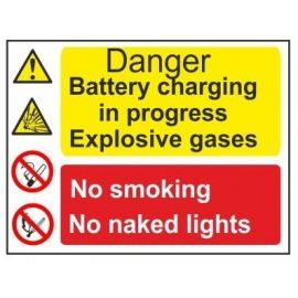 Danger battery charging in progress explosive gases no smoking no naked lights multi message sign in a variety of sizes and materials