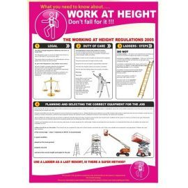 Work at height 420w x 595h  health and safety poster