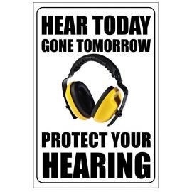 Hear today gone tomorrow protect your hearing 400w x 600h  health and safety poster