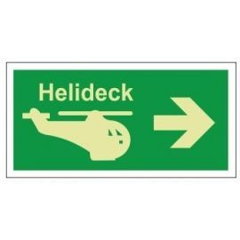 Helideck right photoluminescent 300W x  150H  sign self adhesive