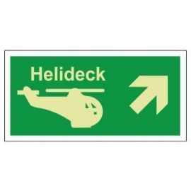 Helideck up right photoluminescent 300W x 150H  sign self adhesive
