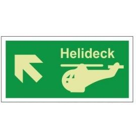 Helideck up left photoluminescent 300W  x  150H   sign self adhesive