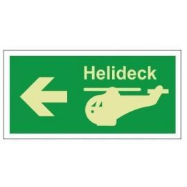 Helideck left photoluminescent 300W  x  150H  sign rigid plastic