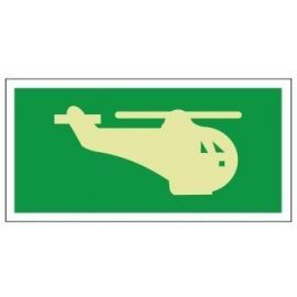 Helideck helicopter image 300W  x  150H   sign self adhesive