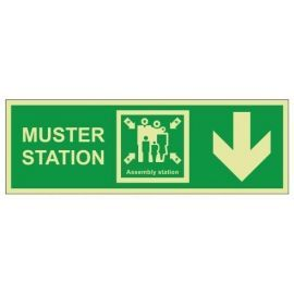 Muster Station Assembly Station Arrow Down Sign - Self Adhesive
