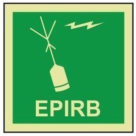 EPIRB photoluminescent 100W   x  110H  sign self adhesive