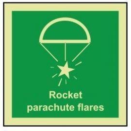 Rocket parachute flares photoluminescent 100W  x  110W sign self adhesive