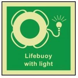 Lifebuoy with light photoluminescent 100W  x  110H  sign rigid plastic