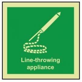 Line-throwing appliance photoluminescent 100x110mm sign rigid plastic