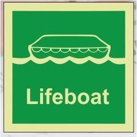 Lifeboat photoluminescent 100W  x  110H   sign rigid plastic