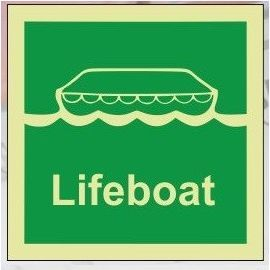 Lifeboat photoluminescent 100W  x  110H   sign self adhesive