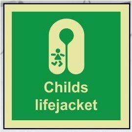 Childs lifejacket photoluminescent 100W  x  110H   sign self adhesive
