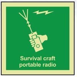 Survival craft portable radio photoluminescent 100W  x  110H   sign self adhesive