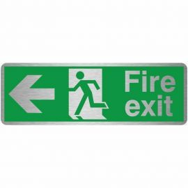 Fire Exit Arrow Left Brush Aluminium Effect Prestige Sign