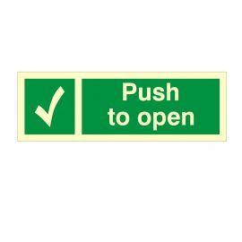 Glow In The Dark Push To Open Door Sign