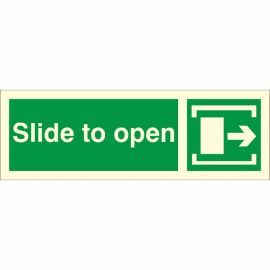 Slide To Open 'Right' Glow In Dark Sign