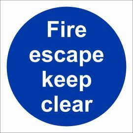 Fire Escape Keep Clear Door Sign