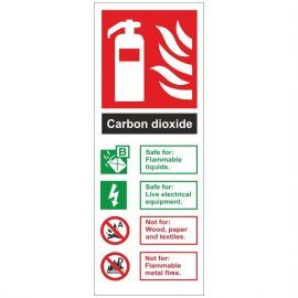 Brushed Aluminium Effect Carbon Dioxide Fire Identification Sign