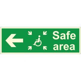 Glow In The Dark Safe Area Arrow Left Sign