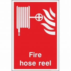 Brushed Aluminium Effect Fire Hose Reel Sign
