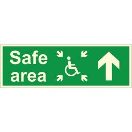 Glow In The Dark Arrow Up Safe Area Sign
