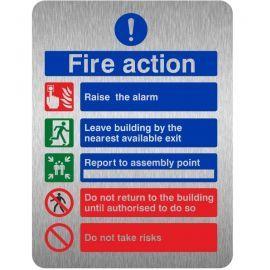 Brushed Aluminium Effect Raise The Alarm Fire Action Notice Sign
