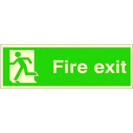 Extra Large Glow in the Dark Fire Exit Running Man Left Sign 900mm x 300mm - Rigid Plastic