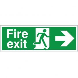 Extra Large Fire Exit Right Sign 900mm x 300mm