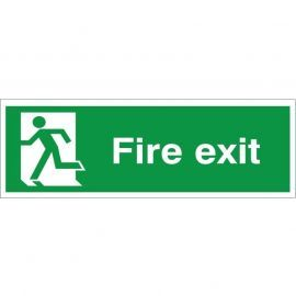 Extra Large Fire Exit Running Man Left Sign 900mm x 300mm